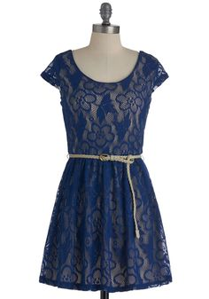 Bright There Dress in Blue - Short, Blue, Floral, Lace, A-line, Cap Sleeves, Belted, Casual $42.99 ModCloth