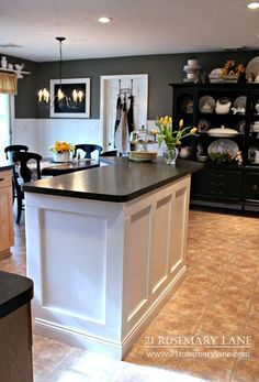 Today I am going to share with you the tutorial on how Mr. Rosemary Lane created a new look for our rather boring kitchen island for just under $300. Now the island is rather large and you can see tha