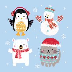 Louise Anglicas - LAS_christmas Penguin Bear Snowman And Cat In Woolies