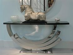 MAMMOTH CONSOLE TABLE Polished nickel or vintage silver with polished granite top Dimensions: H920 x W2000 x D450
