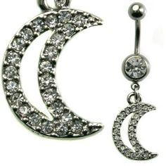 Multi Jewel Moon Dangle Belly Ring Surgical Steel