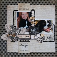 """""""Puppy Love"""" by Hetty Hall. Kaisercraft Materials Used: Creative Moments Memories negatives Collectables Wooden Flourishes – Mini Hinges Small Keys and Hearts Scrapbook Designs, Scrapbook Page Layouts, Scrapbook Pages, Scrapbooking Ideas, Book Projects, Crafty Projects, Projects To Try, Dog Scrapbook, Scrapbook Background"""