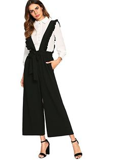 218466f1ad429  27 MakeMeChic Women s Tie Waist Wide Leg Culotte Palazzo Long Pants Ruffle  Overalls at Amazon Women s