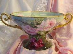 Victorian PUNCH BOWL ~ CENTERPIECE BOWL w Elegant Gold Handles Turn-of-the-Century Antique Porcelain on Pedestal Base Hand Painted Pink Burgundy Roses High Quality Fine Hard Paste Porcelain Circa 1900
