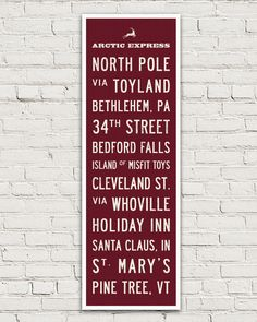 Christmas Bus Scroll Holiday Sign by Transit Design. Perfect hostess gift or wall decor.
