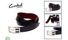 Cardeal concept : couro verniz Tresse preto com forração em couro camurça vinho - fivela metal ônix com ajuste de tamanho.