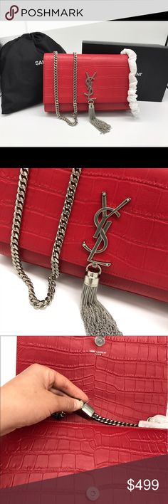 MED KATE MONOGRAM YSL CROCODILE EMBOSSED BAG New  Price firm! But welcome with close offers!  Come with card, dust bag and box Designer Factory cut off real authenticated bag with small defects that can't even tell. I can't tell where so perfect to me.  Love it to buy if you don't like it return, due to busy work can't answer questions thank you  DIMENSIONS 9.4  5.7  2.1 INCHES 100% CALF-SKIN LEATHER Saint Laurent Bags