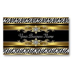 Shop Gold Black Zebra Business Cards created by CorporateCentral.