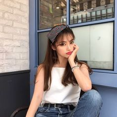 Image may contain: 1 person Girls Summer Outfits, Cute Girl Outfits, Outfit Summer, Ulzzang Fashion, Korean Fashion, Selfies, Girl Korea, Girl Fashion, Fashion Outfits