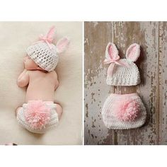 Bunny crochet hat with ears and diaper cover with tail Bunny Crochet, Crochet For Kids, Knit Crochet, Baby Girl Crochet, Crochet Summer, Easter Crochet, Crochet Mandala, Crochet Baby Hats, Blanket Crochet