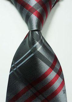 Classic Dark Gray Red 100 New Jacquard Woven Silk Men's Tie Necktie   eBay