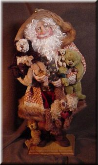 Teddy Bear Santa with 1860s Quilt Jacket by Michelle Jewell Treichler