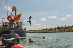 """Pożegnanie statku """"Wilhelm"""" przed zatopieniem w Via Sport Diving Marina """"Koparki"""" w Jaworznie"""