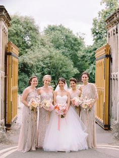 Get inspired by these best mismatched bridesmaid dresses from the latest bridal party trend that are sure to make your bridesmaids stand out. Metallic Bridesmaid Dresses, Bridesmaid Dress Colors, Wedding Bridesmaid Dresses, Sparkly Dresses, Gold Bridesmaids, Neutral, Mod Wedding, Wedding Ideas, Wedding Stuff