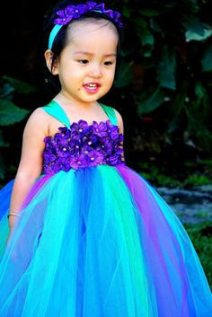 Reserved listing for Jennifer.  2 Peacock Inspired Tutu Dress Series IV with turquoise shoulder straps