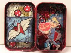 Altered Valentine Tin from Honey Girl Studio. I love the idea of making Valentine's using one of these so I can layer and add more cool things.