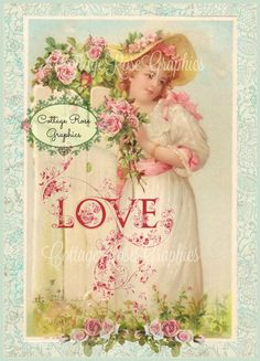 Vintage Valentine Love Large digital by CottageRoseGraphics