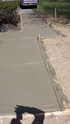 Concrete Slab Patio, Outdoor Patio Pavers, Stamped Concrete Driveway, Concrete Patio Designs, Concrete Retaining Walls, Concrete Driveways, Poured Concrete, Driveway Design, Driveway Landscaping