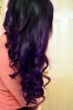 Dark Purple Hair, Black Hair With Highlights, Dark Hair, Purple Highlights, Brown Hair, Purple Streaks, Peekaboo Highlights, Highlights Underneath, Caramel Highlights