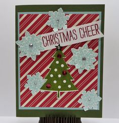 Stampin' Up Christmas Cheer Christmas Card made by Lynn Gauthier using SU Season of Cheer and Flurry of Wishes Stamp Sets, SU Flower Medallion Punch, Home for Christmas DSP and Peaceful Pines Framelits Dies. Go to http://lynnslocker.blogspot.com/2015/10/stampin-up-flurry-of-wishes-christmas.html for details on how to make this card.
