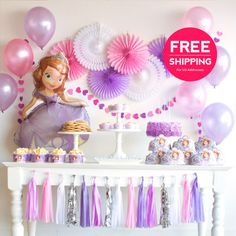 Sofia the First Party Supplies and Decorations. Aug Sofia the First Party Supplies and Decorations. Princess SofiaFavors at a Sofia Princess Party Decorations, First Birthday Party Decorations, 4th Birthday Parties, Sofia The First Birthday Cake, Princess Sofia Birthday, Tangled Birthday, Tangled Party, Tinkerbell Party, Purple Party