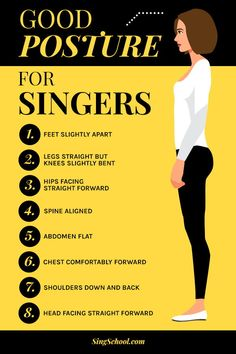Good posture for singers Feet slightly apart Legs straight but knees slightly bent Hips facing straight forward Spine aligned Abdomen flat Chest comfortably forward Shoulders down and back Head facing straight forward Vocal Lessons, Singing Lessons, Singing Tips, Singing Exercises, Vocal Exercises, Teaching Music, Learning Guitar, Guitar Songs, Guitar Chords