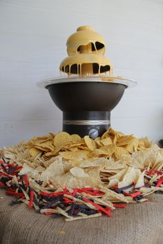 Nacho Bar- wow...cheese in a chocolate fountain! I'd probably camp out right beside it!