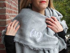 Perfect Bridesmaid Gift! Monogrammed Blanket Scarf