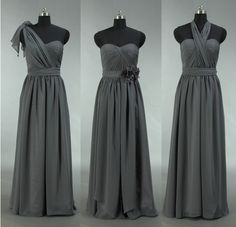 Grey Bridesmaid Dress Long Convertible Chiffon by harsuccthing, $109.00 I wore one very similar to this, this past weekend and it was great!