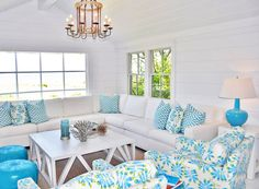 I love this look - mostly white, wood floors ground the room and turquoise and lime are the pop! House of Turquoise: Lynn Morgan Design Cottage Living Rooms, Coastal Living Rooms, My Living Room, Living Room Decor, Cottage Interiors, Decor Room, Living Area, Bedroom Decor, House Of Turquoise