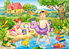 Continue A Nadar, Weather Seasons, Art Drawings For Kids, Korean Art, Cartoon Pics, Art Sketchbook, Coloring Pages For Kids, Preschool Activities, Summer Fun