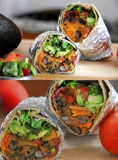 Spicy Bean and Sweet Potato Burritos- limes, lemon, tomatoes, red onion, garlic, sweet potato, black, pinto or kidney beans, red capsicum, kale or spinach, coriander, avocado, tortillas, chili powder, cumin, coriander, oil for cooking