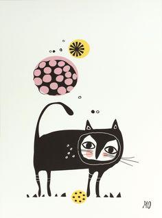 Black cat - Mooi vormgegeven poster van een zwarte kat, van de Deense illustratrice Mariann Doherty. Exclusief lijst. Afmetingen: 29.7 x 40 cm (A3-formaat).