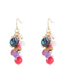 Multicolored Bead Cluster Earrings