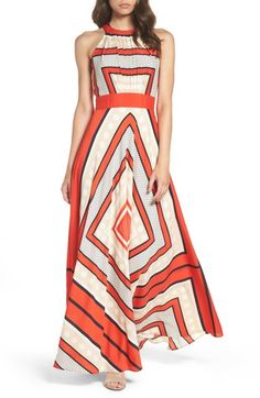 Free shipping and returns on Eliza J Scarf Print Crêpe de Chine Fit & Flare Maxi Dress (Regular & Petite) at Nordstrom.com. A graphic mix of dots, diamonds and dashes brightens a flowy, stretchy maxi dress with a high, pleated neckline and cutaway shoulders.