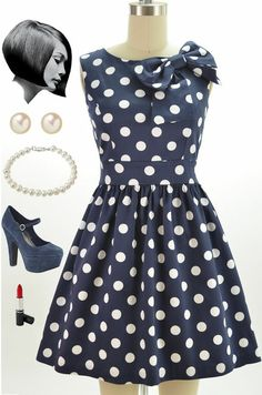 """Just restocked at Le Bomb Shop! The """"The Pennsylvania Polka Dress in Dots."""" Navy and white polka dots! Only $43 with FREE U.S. shipping! Buy it here: http://lebombshop.net/search?type=product&q=%22bow+detailed+pinup+dress%22&search-button.x=0&search-button.y=0"""