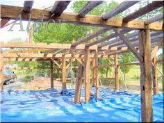 Pergola Attached To House Info: 9936822351 Pasture Fencing, Horse Fencing, Fence, Timber Roof, Backyard House, Neutral Color Scheme, Pergola Attached To House, Garden Edging, Pergola Designs