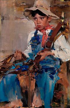 Seeking superior fine art prints of The Little Cowboy by Nicolai Fechin? Nicolai Fechin, Most Expensive Painting, Little Cowboy, Cowboy Cowboy, Cowboy Baby, Camo Baby, Oil Painting Techniques, Painting Tutorials, 26 November