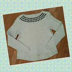 Studded sweater Unsure of the brand, cream/grey, long sleeve, studded along front collar, 100%cotton, never worn, medium Sweaters