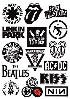 Set of Laptop/ Suitcase/ Skateboard Stickers - - Rock Band Sticker - Decorative Sticker - Gift Band Stickers, Phone Stickers, Cute Stickers, Rock Band Logos, Rock Bands, Rock And Roll, Suitcase Stickers, Decoration Stickers, Band Wallpapers