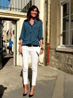 white jean + chambray shirt (emmanuelle alt) - recreate with GAP blue shirt and cream James Jeans