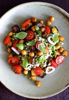 Buckwheat Chickpea Salad recipe--serve on bed of young spinach leaves or other lettuce if so desired.