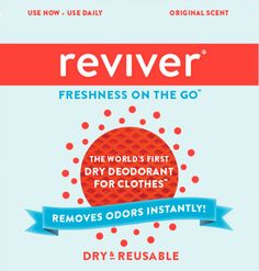 Reviver is a revolutionary odor-neutralizing swipe that lets you instantly and discreetly eliminate unwanted aromas that cling to clothes and hair. www.reviver.com