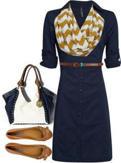 navy button dress, skinny brown belt, mustard/white chevron infinity skirt, camel flats, white/navy tote