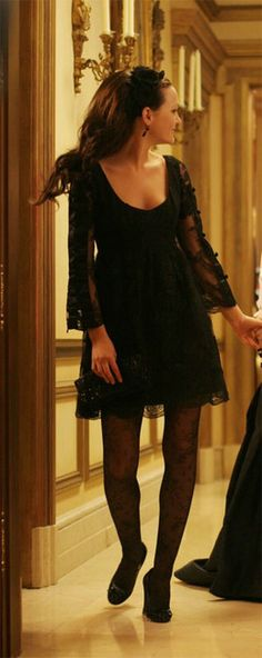 Anna Sui lace mini dress from the Gossip Girl pilot -- would be my PERFECT birthday dress. The low back is so striking. Obviously there would be a higher heel situation, but I would probably stick with the American Apparel chiffon headband. Sigh.