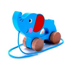 Adorable Elephant Wooden Pull Along Toy for Toddlers Boy  Girl  Rolls Easy Sturdy String Attached ** Click image to review more details.