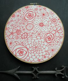 Embroidery Hoop Art Sharpie Art Red & White 8 hoop by TheCortHouse