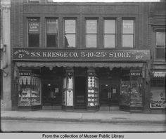 A department store through the eyes of 1924: S. S. Kresge Co. 5-10-25c Store at 109-111 East 2nd St., Muscatine, IA.