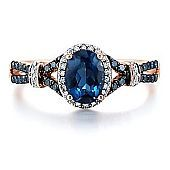 Blue Topaz & 1/4 ct. tw. Diamond Ring in 10K Gold