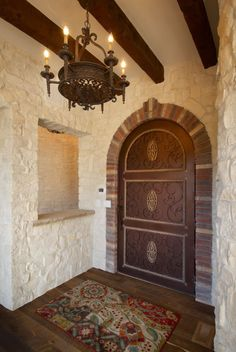 Spanish Custom Home Entry by Viaggio Homes
